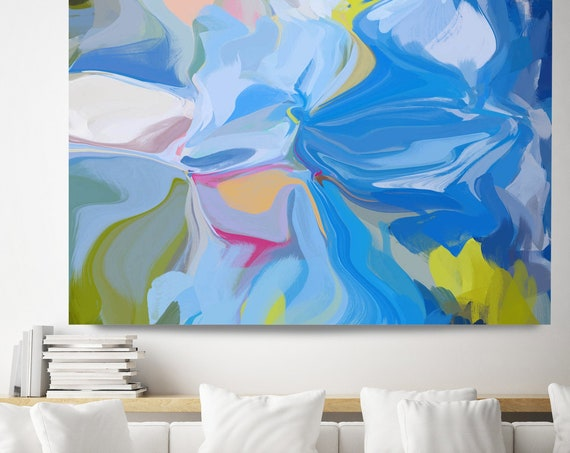 Blue Abstract Wall Art, Blue Abstract Canvas Print, Energy Flow Wall Art, Abstract Art, Contemporary Art, North Atlantic