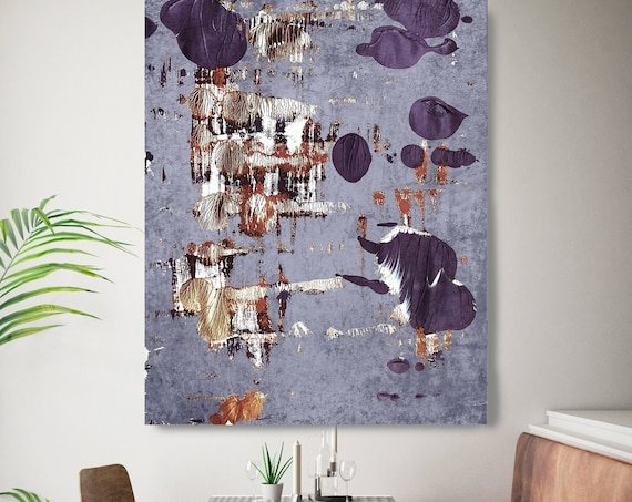 Purple Rustic 10 Gold Blue Abstract Painting  Modern Art Abstract Painting Extra Large Painting Extra Large Abstract Canvas Print