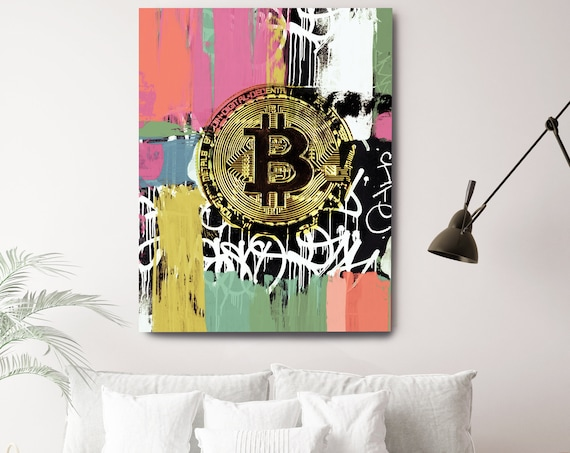 Bitcoin Canvas Art, Digital Currency Canvas Print, Abstract Cryptocurrencies Print, Cryptocurrency Bitcoin Graffiti, Print on Canvas