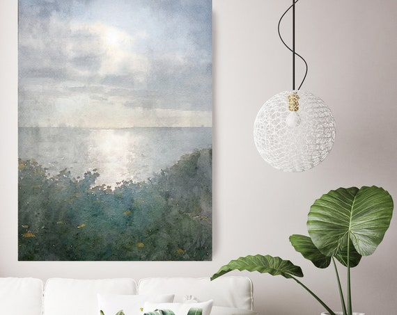seascape painting, green blue landscape art, coastal watercolor green landscape painting Watercolor Canvas Art Print Sunset over the ocean 2