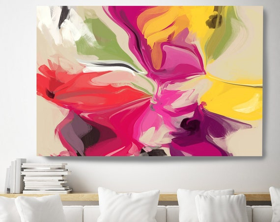 Home decor wall art. Yellow Red Colorful Abstract art. Boho Art. Oversized Art, Large Canvas Print. Energy Painting. Genuine love