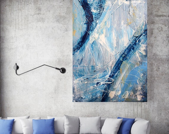 Abstract Blue White Painting, Urban Raw Abstract Canvas Print, Blue Abstract Art on Canvas, Textured Painting Canvas Print, Hand Textured
