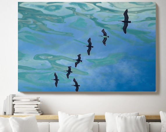 Birds in the water, Reflected Water, Canvas Art Print. Aqua Ocean Art, Birds Canvas, Blue Green Water Art