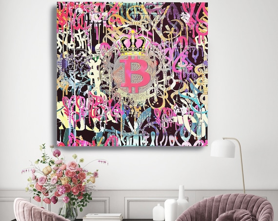 Pink Bitcoin Cryptocurrency Graffiti Canvas Print. Bitcoin Abstract Office Decor Cryptocurrency Wall Art, Bitcoin print, crypto BTC Graffiti