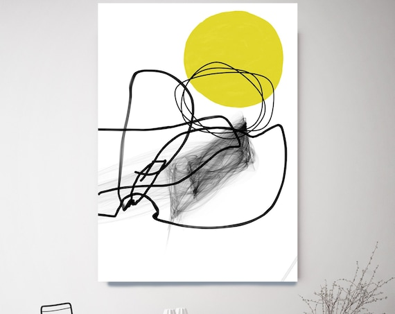 Yellow Illusion Flow Abstract Wall Art Decor Abstract Canvas Print Modern Trendy Wall Art Luxury Abstract Painting, Line Art Minimalist