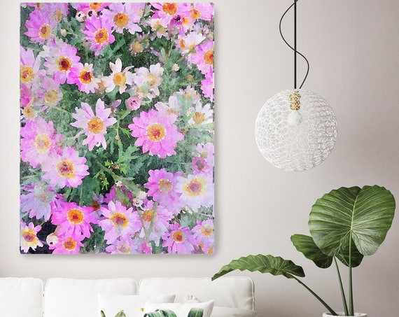 A garden in bloom Hot Pink Floral Watercolor Painting Print, watercolor painting, watercolor floral canvas print, shabby chic canvas print