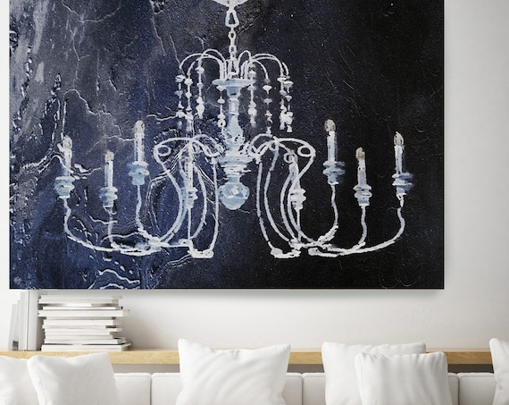 Rustic Chandelier, Chandelier painting, Shabby Chic chandelier, Blue White Chandelier Canvas Print