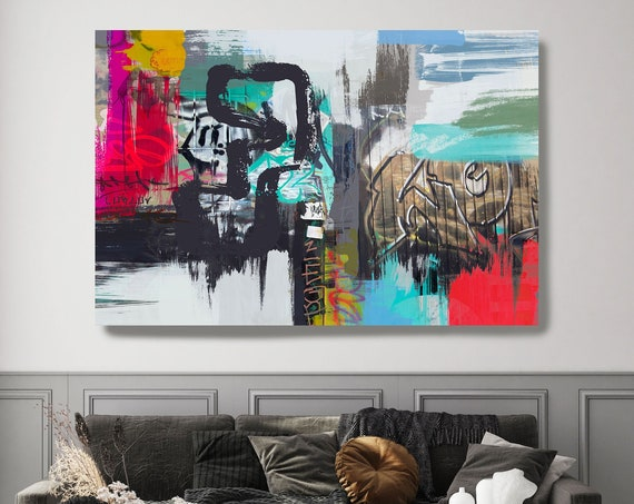 Teal Red Graffiti, Street Art, Graffiti Art Print, Graffiti on canvas Street Art Painting Print on Canvas Graffiti Canvas Art Print