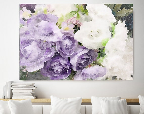Purple Spray Floral Watercolor Painting Print, watercolor painting, watercolor floral, floral canvas print,  shabby chic canvas print