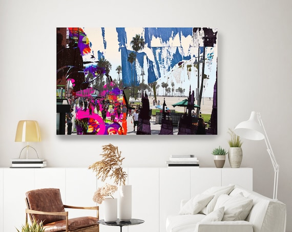 One Summer Day at Venice Beach, Urban Art, Architectural Canvas Art Print, Cityscape Art, Contemporary Art, Venice Beach Artwork Blue Ruby