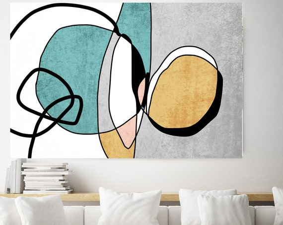 Teal Yellow Minimalist Abstract. Mid-Century Modern Colorful Canvas Art Print Mid Century Modern Canvas Art Teal Yellow Abstract