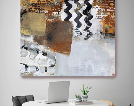 "Geomix 99. White Brown Black Abstract Art, Wall Decor, Extra Large Abstract Colorful Contemporary Canvas Art Print up to 48"" by Irena Orlov"