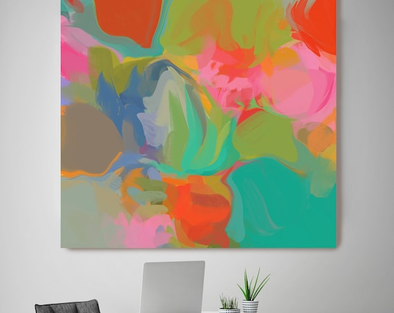 """ORL-6228-1 Always in Style 1, Colorful Blur Abstract Painting, Red Blue Green Canvas Art Print up to 48"""" by Irena Orlov"""