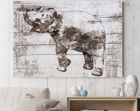 """Rustic Elephant. Large  Farmhouse Elephant Canvas Art Print, Brown Rustic Wall Art up to 72"""" by Irena Orlov"""