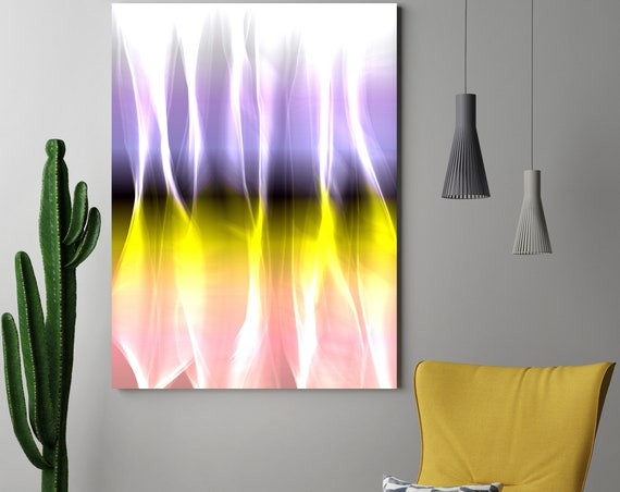"Mysterious Light 6-1, Neon Purple Yellow Pink Contemporary Wall Art, Extra Large New Media Canvas Art Print up to 72"" by Irena Orlov"