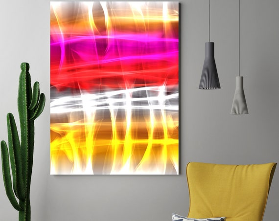 "Mysterious Light 21, Neon Black Red Yellow Contemporary Lines Wall Art, Extra Large New Media Canvas Art Print up to 72"" by  Irena Orlov"