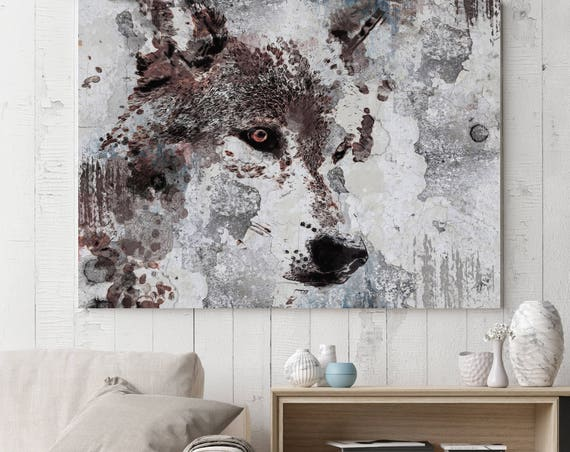 "Gray Wolf. Extra Large Wolf Canvas, Wolf Wall Decor, Wolf Painting, Brown Rustic Wolf Canvas Art Print up to 72"" by Irena Orlov"