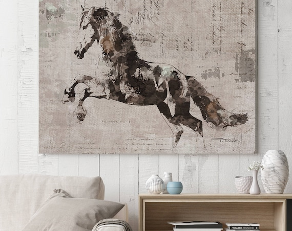 "Justify Running Horse. Extra Large Horse, Horse Wall Decor, Brown Rustic Horse, Large Contemporary Canvas Art Print up to 81"" by Irena Orlov"