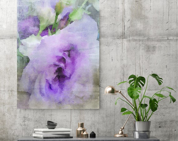 Purple Flower. Green Purple Flower Painting, blossom canvas art print, blossoming painting, floral painting, purple canvas print