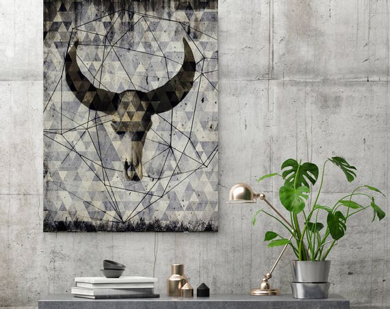 "ORL-9981-2 Buffalo skull 2.  Extra Large Rustic Buffalo Skull Canvas Wall Art Print up to 72"", Animal Rustic Canvas Wall Art Print Decor"