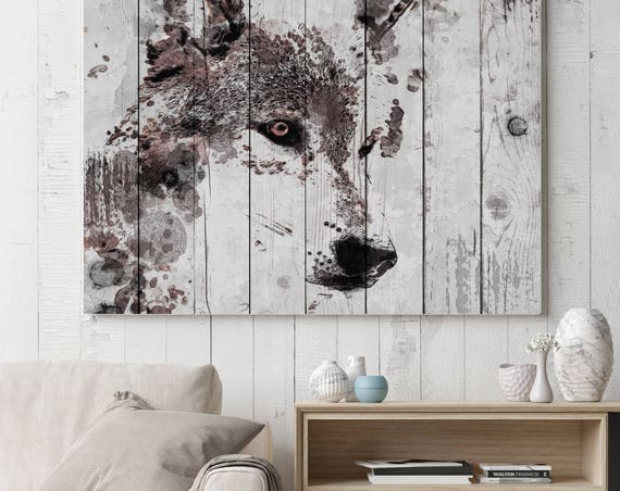 """Wolf Spirit. Extra Large Wolf Canvas, Unique Wolf Wall Decor, Brown Rustic Wolf Canvas Art Print up to 72"""" by Irena Orlov"""
