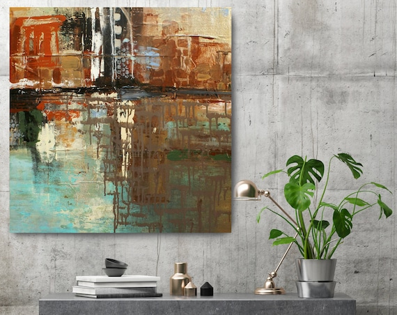 "New York October 7, 1831.Brown Green Abstract Art, Wall Decor, Extra Large Abstract Colorful Canvas Art Print up to 48"" by Irena Orlov"
