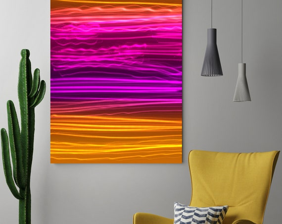"Mysterious Light 25, Neon Purple Orange Contemporary Lines Wall Art, Extra Large New Media Canvas Art Print up to 72"" by  Irena Orlov"