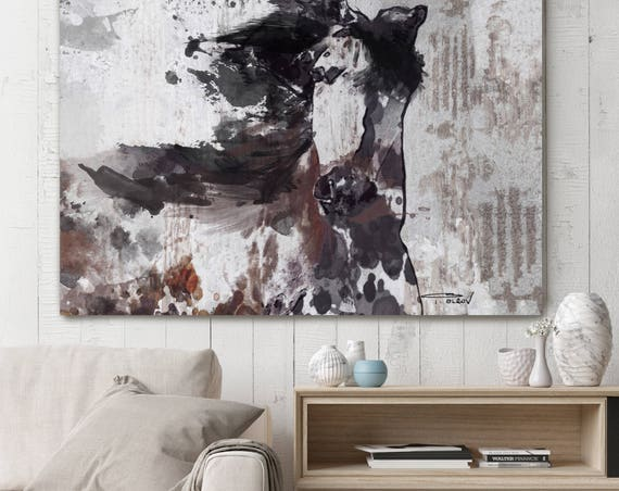 "Gorgeous Emaus 2. Extra Large Horse, Horse Wall Decor, Brown Rustic Horse, Large Contemporary Canvas Art Print up to 72"" by Irena Orlov"