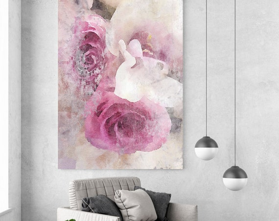 "Shabby Roses. Floral Painting, Pink Gray Rustic Watercolor Floral Canvas Print, Large Rustic Canvas Art Print up to 72"" by Irena Orlov"