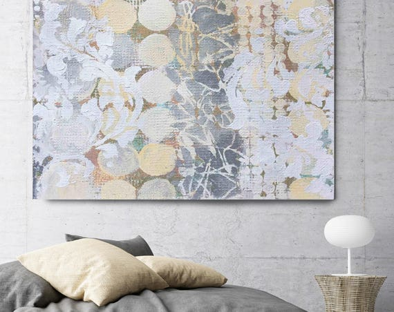 "White Melody. White Gray Abstract Art, Wall Decor, Extra Large Abstract Colorful Contemporary Canvas Art Print up to 72"" by Irena Orlov"