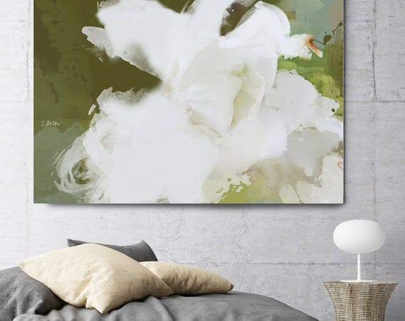 "My world is beautiful. Floral Painting, White Green Contemporary Canvas Art Print up to 72"" by Irena Orlov"
