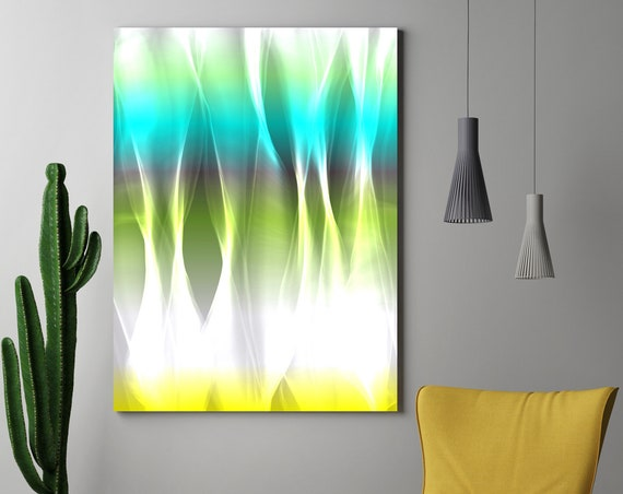 "Mysterious Light 5, Neon Blue Green Yellow Contemporary Wall Art, Extra Large New Media Canvas Art Print up to 72"" by Irena Orlov"