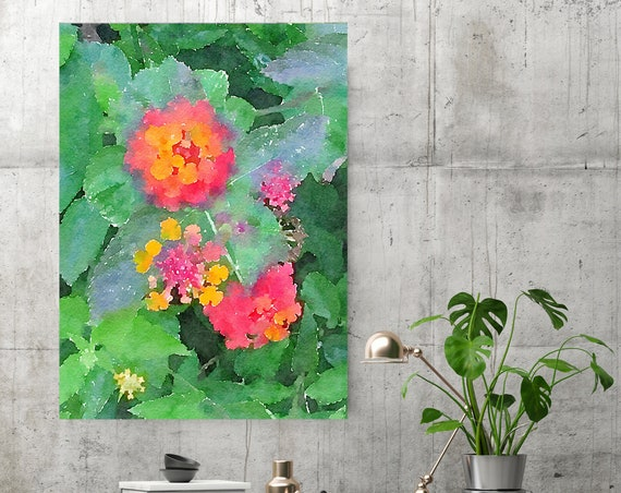 Orange Flowers 3. Flowers Painting on Canvas, Colorful Painting, Impressionist Painting, Floral Painting, Green Red Floral Canvas Print