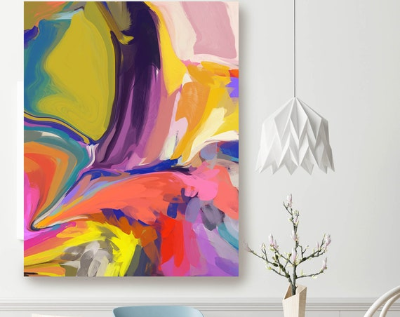Desert Mirage 18, Original Art, Abstract, Trending Now, Neon Colors Painting Extra large Acrylic Painting on Canvas