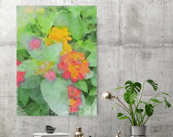 Orange Flowers. Flowers Painting on Canvas, Colorful Painting, Impressionist Painting, Floral Painting, Green Red Floral Canvas Print