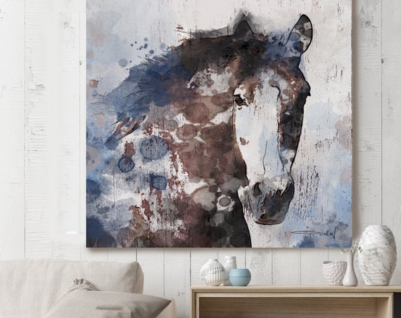 """Navy Blue Gorgeous Horse Large Canvas, Horse Art, Brown Blue Rustic Horse, Rustic Vintage Horse Wall Art Print up to 50"""" by Irena Orlov"""
