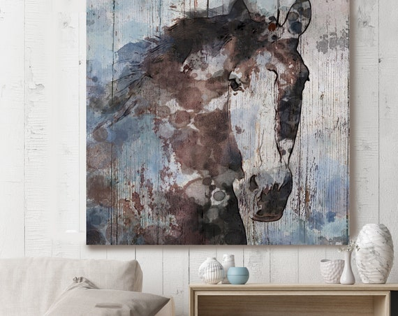"Gorgeous Blue Horse. Horse Large Canvas, Horse Art, Brown Blue Rustic Horse, Rustic Vintage Horse Wall Art Print up to 50"" by Irena Orlov"