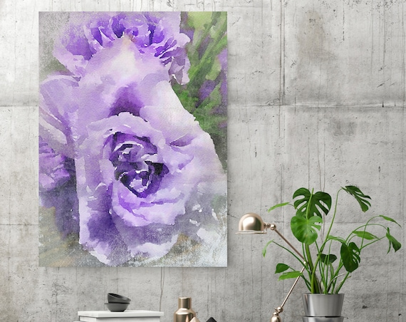 Purple Flower 3. Green Purple Flower Painting, blossom canvas art print, blossoming painting, floral painting, purple canvas print