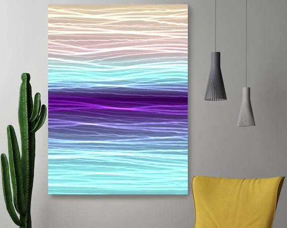 "Mysterious Light 31, Neon Purple Blue Green Lines Contemporary Wall Art, Extra Large New Media Canvas Art Print up to 72"" by Irena Orlov"