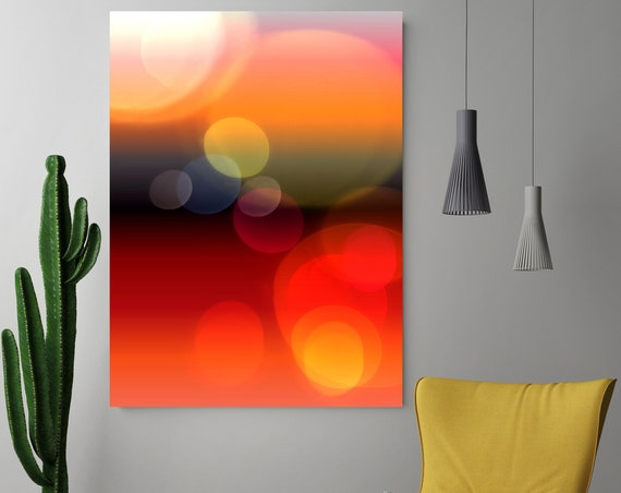 "Mysterious Light 67-1, Neon Black Red Yellow Contemporary Wall Art, Extra Large New Media Canvas Art Print up to 72"" by  Irena Orlov"