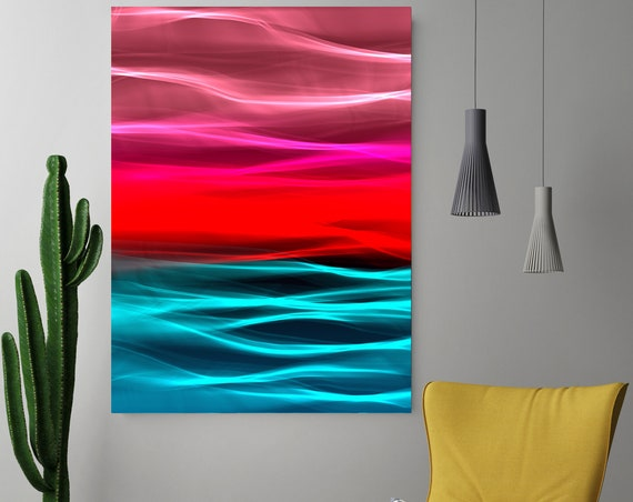 "Mysterious Light 113-3, Neon red blue Contemporary Wall Art, Extra Large New Media Canvas Art Print up to 72"" by Irena Orlov"
