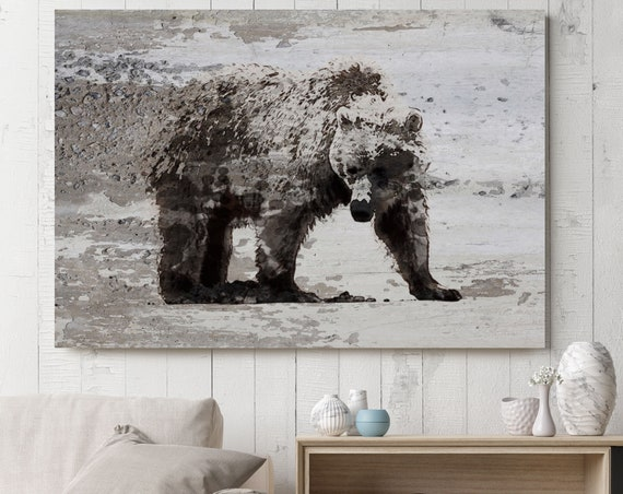 "Bear Art, Bear Painting, Bear Print, Bear Walking, Rustic Bear, Vintage Bear, Bear canvas Art Print up to 81"" by Irena Orlov"