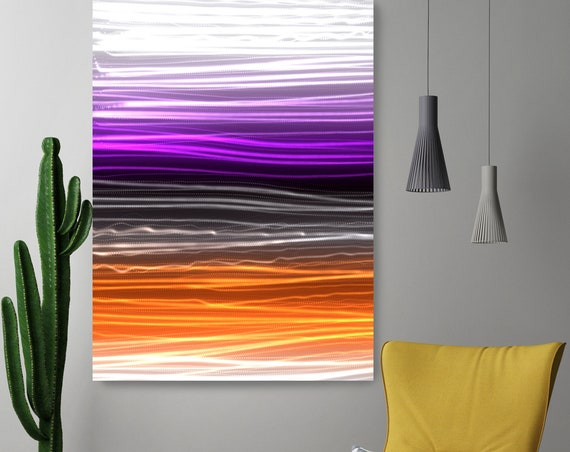 "Mysterious Light 33, Neon Purple Orange Contemporary Line Wall Art, Extra Large New Media Canvas Art Print up to 72"" by Irena Orlov"