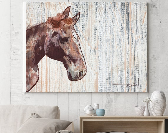 "Rosie Horse 2. Extra Large Horse, Horse Wall Decor, Brown Rustic Horse, Large Contemporary Canvas Art Print up to 72"" by Irena Orlov"