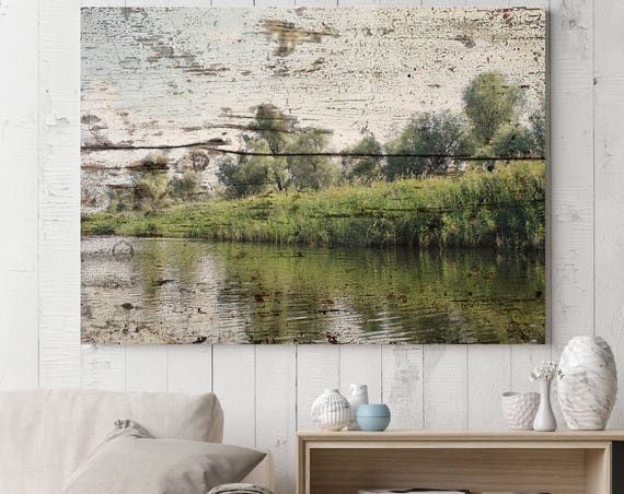 "ORL-11626 Rustic Landscape 32. Huge Rustic Landscape Painting Canvas Art Print, Extra Large Green Canvas Art Print up to 80"" by Irena Orlov"