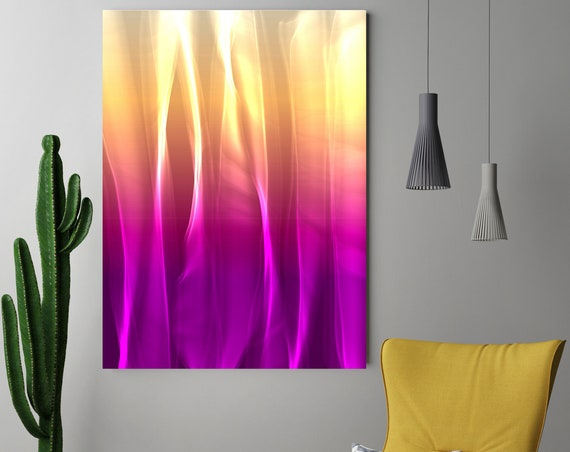 """Mysterious Light 6-1, Neon Purple Yellow Contemporary Wall Art, Extra Large New Media Canvas Art Print up to 72"""" by Irena Orlov"""