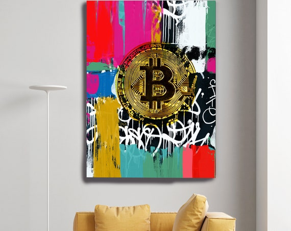 Colorful Bitcoin Graffiti Abstract Canvas, Cryptocurrency Bitcoin Graffiti, Art Painting Print on Canvas, Bitcoin Artwork Canvas Print