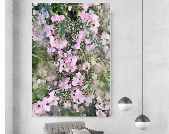 Spring Mist, pink floral painting, pink art, floral art, shabby chic, Pink Floral Art, Pink Rustic Flowers Canvas Print