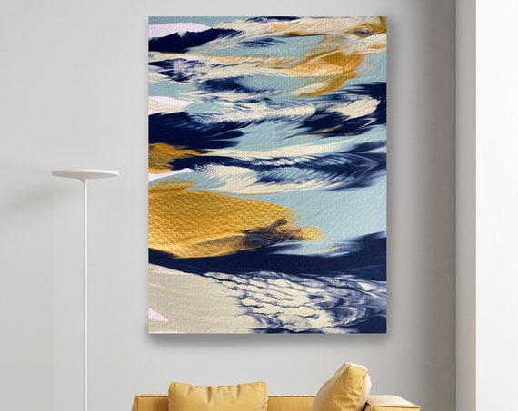 Gold Water Reflection, Turquoise Gold Blue Abstract Painting Modern Art Abstract Painting Extra Large Painting Abstract Canvas Print