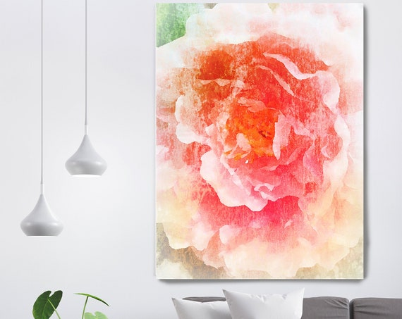 Red Pretty Floral painting, Shabby Chick Art, Floral Art, Floral Wall Art, Rustic Flowers Canvas Print, Pretty Farmhouse Wall Art